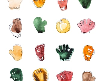 Baseball Art - Baseball Gloves - Baseball Illustration - Sports Illustration - Sports Print - Baseball Print - Watercolor - Giclee Print -