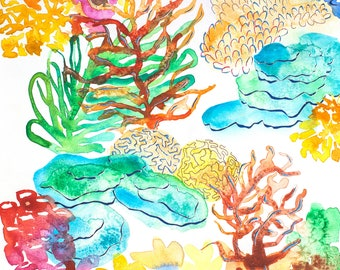 Coral - fine art prints - ocean illustration - giclee prints - mixed media art - wall art - coral reef art - 11x14 prints - room decoration