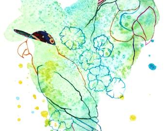 Parrots - 5x7 prints - watercolor prints - mixed media art - giclee prints - bird art - unique wall art - fine art prints - fabric art