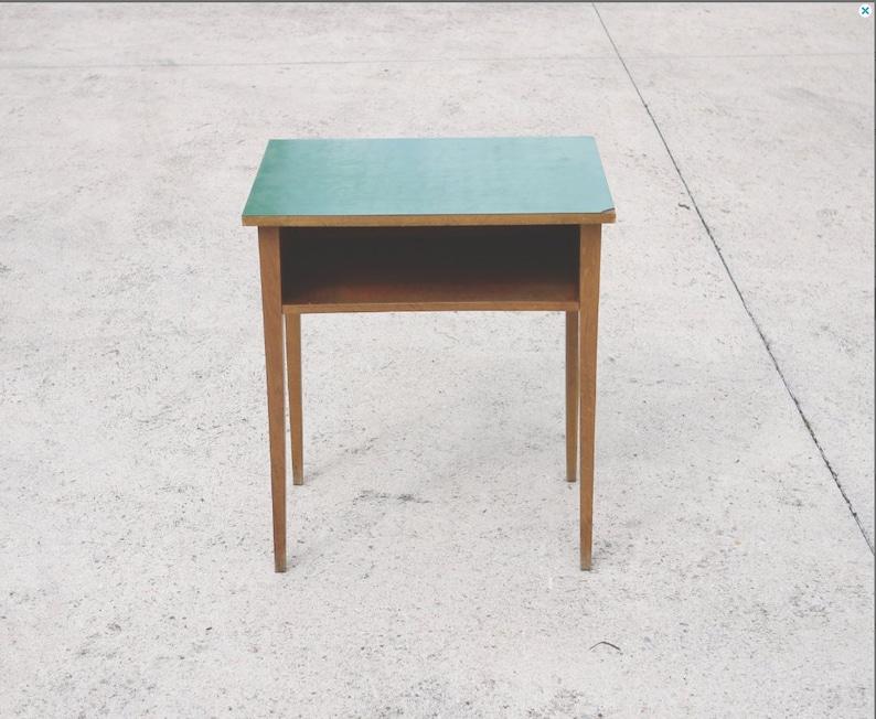YUGOSLAVIA School Table in Green with Oak Wood 1960s