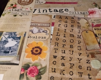 Vintage Collage Combo Scrapbook Album Combo Pack
