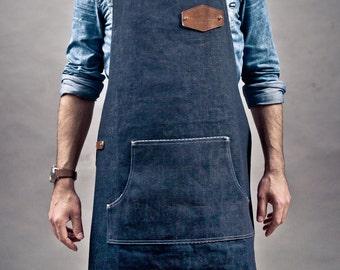 Apron Raw Denim BlueWhite Stripes Craftsman