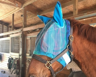 Fly Mask w/ Ears - Improved Design - Horses, Donkeys, & Mules - Other livestock w/ measurements