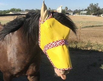 FULL Head Fly Mask - Improved Design - Removable Nose Piece - Horse, Donkey & Mule - Other Livestock accepted w/ Measurements