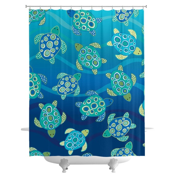 Sea Turtles Ocean Bath Shower Curtain Kids Boys Beach
