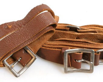 1950s Leather Straps Set of 2//Brown Leather