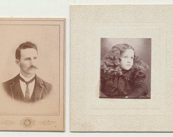 c1900s Lot of 2 Antique Tinted Portrait Photographs of Man /& Woman Mustache Bonnet Matted