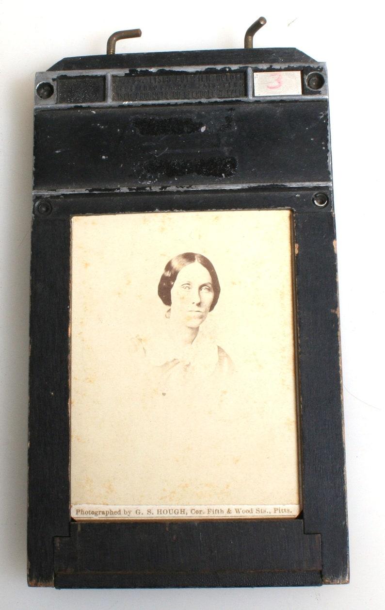 Vintage Film Holder with Vintage CDVsPicture FrameReuse Frame1860s PhotoWoman Head Shots