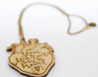 Wooden long necklace Heart - You warm my heart