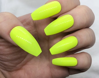 Neon Yellow Nails Etsy