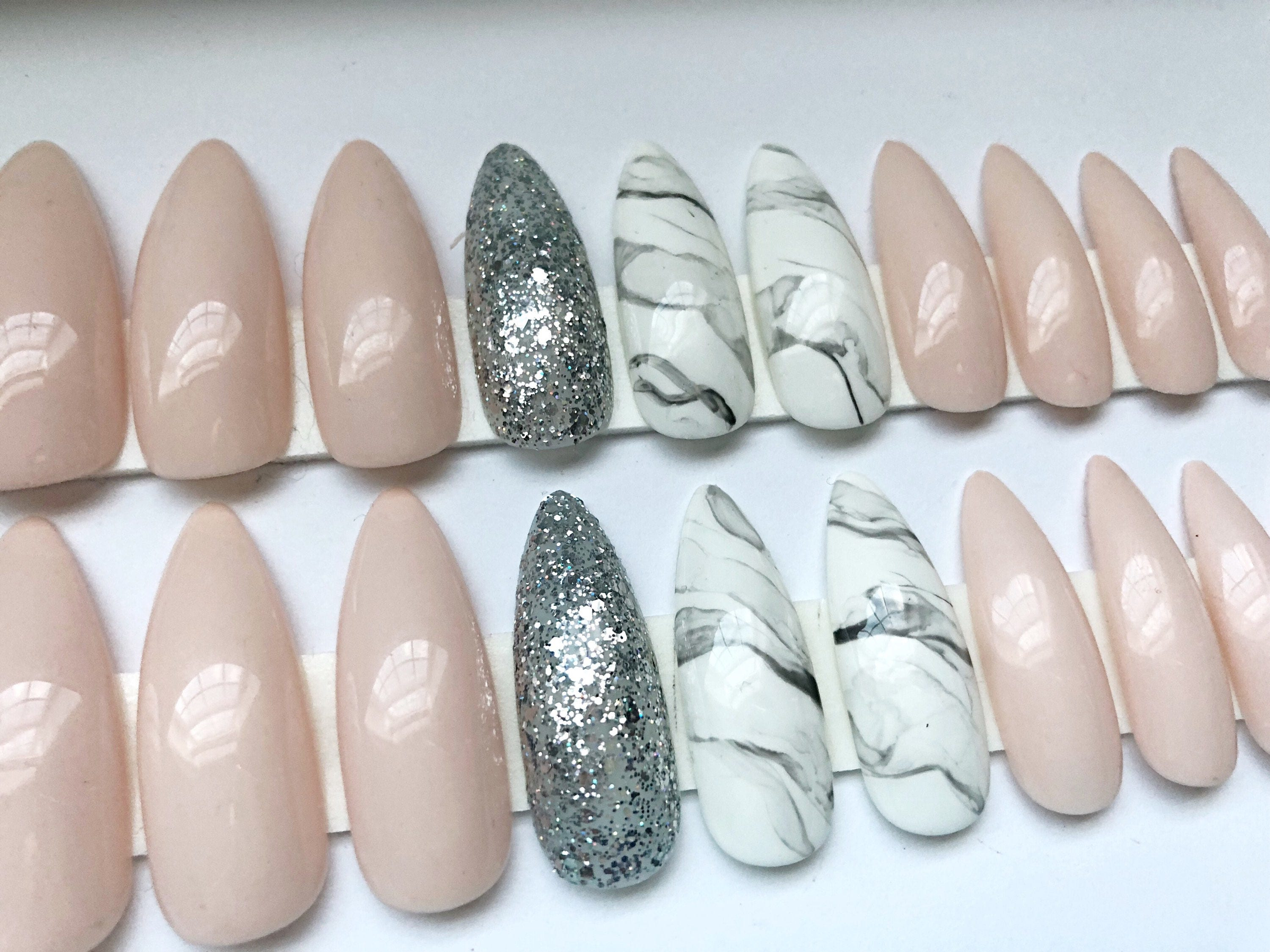 LINDA // press on nails // nude, glitter, marble from ...