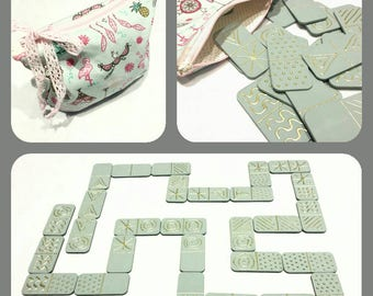 Handmade fabric and wood  domino game.Gift for kids!