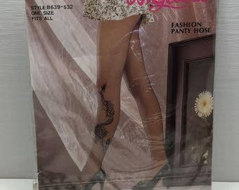 e8d08e114a063 Vintage Retro Estate Unique Angelina Fashion Black Pantyhose Dragon Nylons  Rhinestones One Size NOS 1980s in original package
