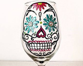 Sugar Skull Wine Glass – 21 oz Hand Painted Wine Glasses