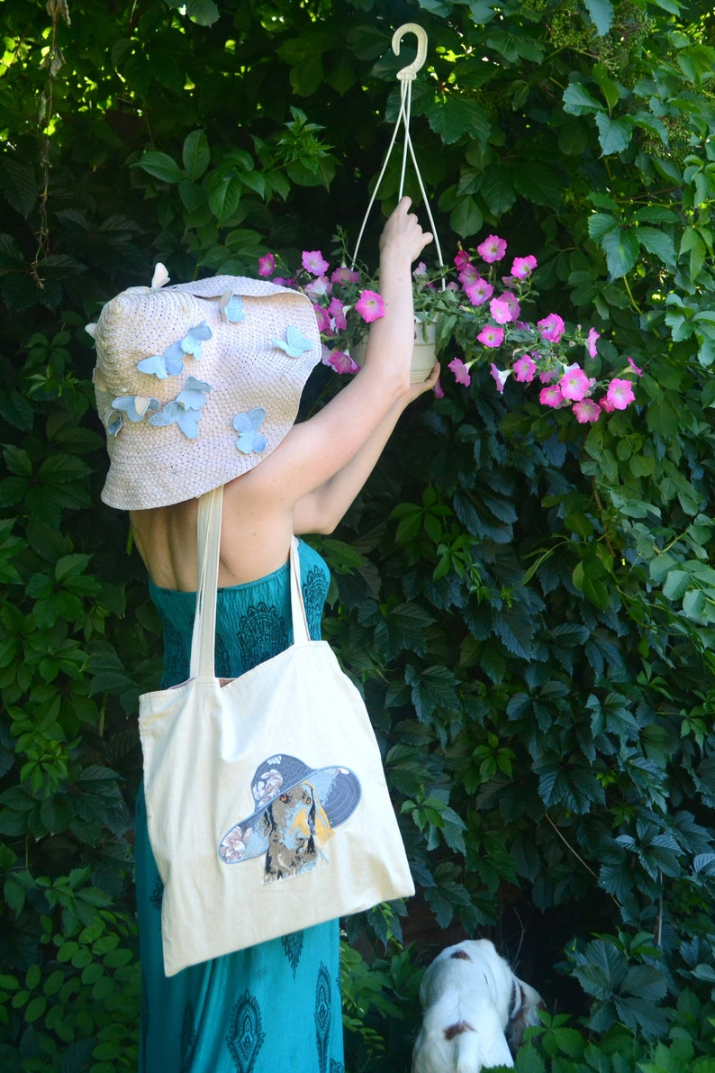 Tote bag summer Shoulder handbag Beach bag Big capacious handbag female Dog embroidered bag Cool handbag Pet loss portrait memory Spring bag