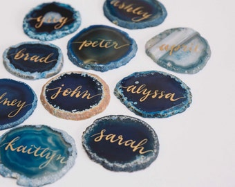 Agate Calligraphy Place Cards