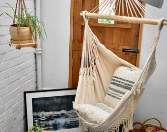 Naturally Luxurious White Hammock Chair 100% Cotton