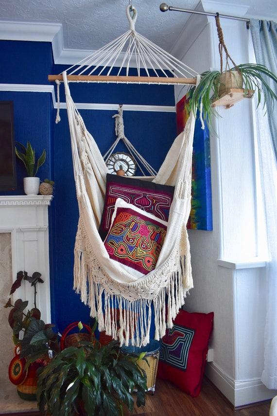 Borlas Finish OakWalnut 100/% Cotton Hammock Chair