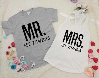 MR and MRS tee shirt and tank top set  Custom date . Just Married shirts. Wedding tank and tee. Bride and Groom shirts.Honeymoon shirts.