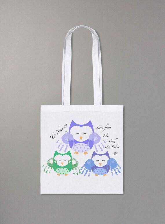 Personalisierte Handabdruck Eule Shopper Einzigartige Tasche Etsy