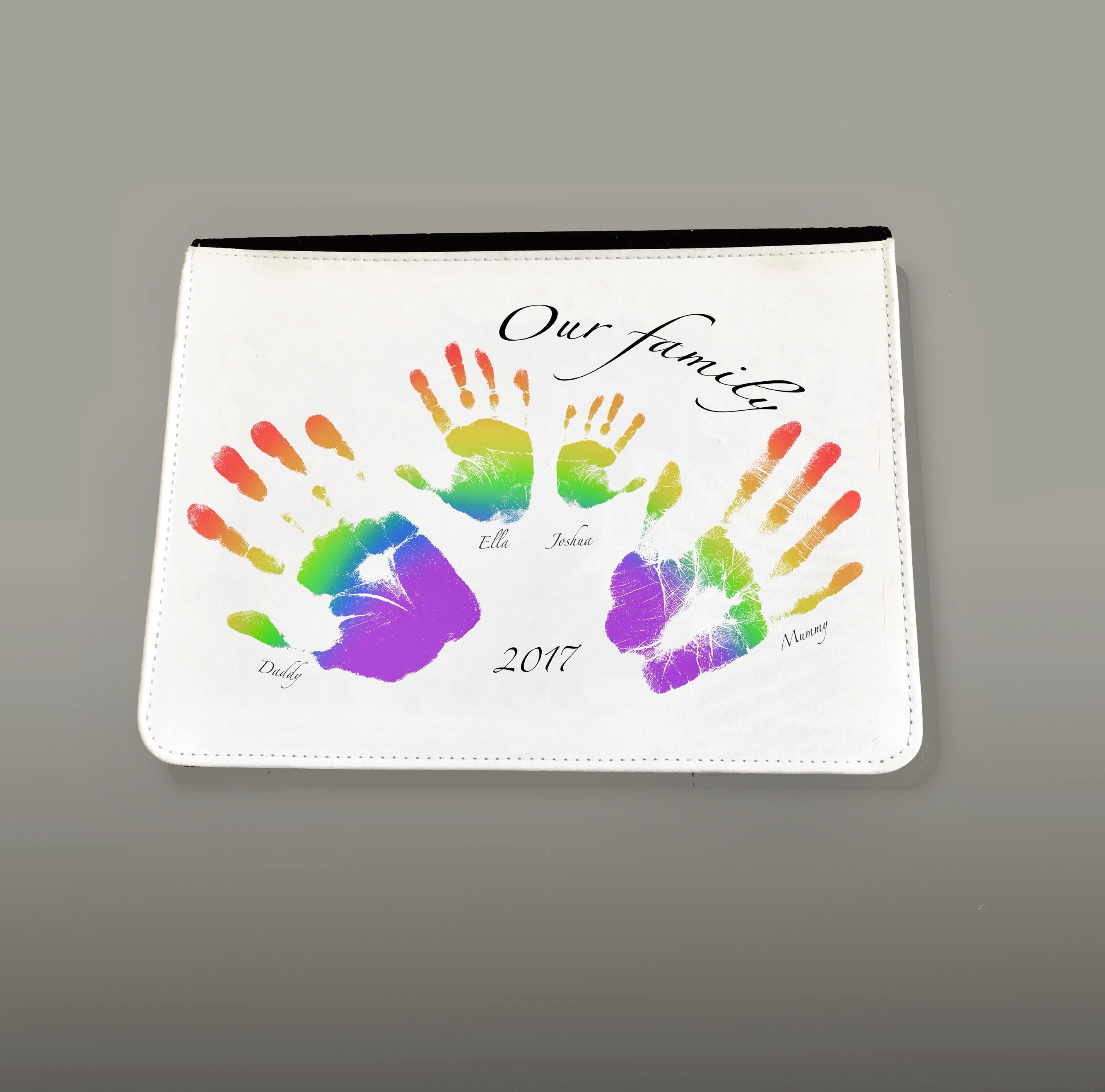 624dc8044 Personalised Rainbow family handprints Ipad case for gift or