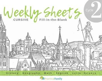 CC Cycle 2 Weekly Sheets CURSIVE