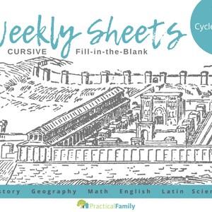 CC Cycle 1 Weekly Sheets CURSIVE
