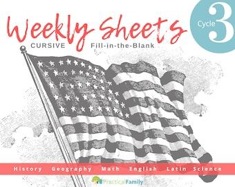 CC Cycle 3 Weekly Sheets CURSIVE