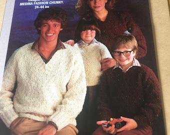 Loweth double knit vintage jumper knitting pattern 32-38 bust