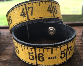 Vintage Measuring Tape Leather Cuff