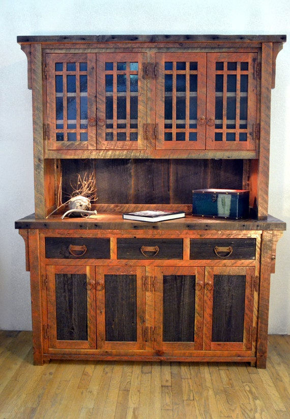 Rustic barnwood buffet, barnwood hutch, dining room buffet, china cabinet,  rustic hutch