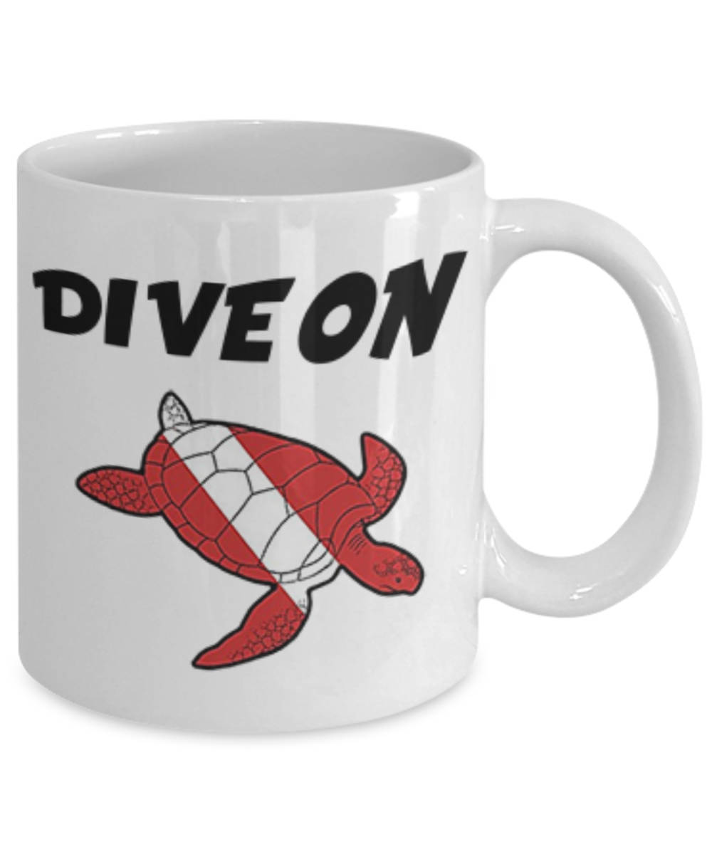 Scuba Diving Turtle Mug Awesome Coffee Mug For Scuba Divers Dive On Turtle Dive Flag Makes Awesome Gift For Any Diver