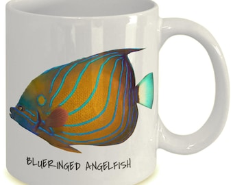 Blueringed Angelfish - Tropical Fish Ceramic Mug Collection - Great Gift For Scuba Divers
