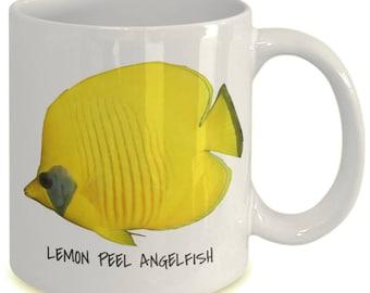 Lemon Peel Angelfish - Tropical Fish Ceramic Mug Collection - Great Gift For Scuba Divers