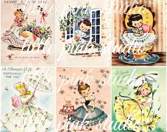 Darling Vintage Greetings,  Printable Collage Sheet (digital download, printable)
