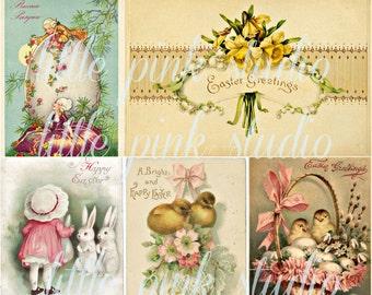 Vintage Easter Greetings,  Printable Collage Sheet (digital download, printable)