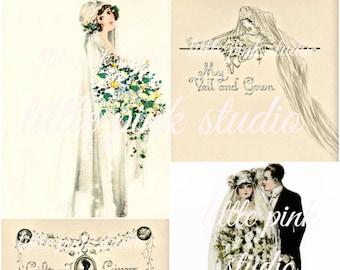 Ein Vintage Hochzeit 02, druckbare Collage Sheet (digital Download, zum ausdrucken)