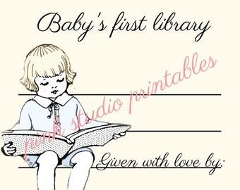 Baby Boy's First Library,  Printable book plate, baby shower gift, (digital download, printable)