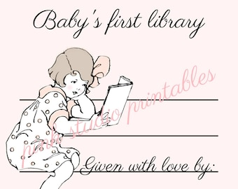 Baby Girl's First Library,  Printable book plate, baby shower gift, (digital download, printable)
