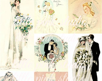 A Vintage Wedding 03,  Printable Collage Sheet (digital download, printable)