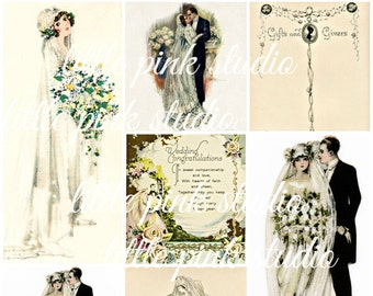 Ein Vintage Hochzeit 01, druckbare Collage Sheet (digital Download, zum ausdrucken)