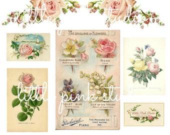 Vintage Florals,   printable planner sticker sheet, vintage style, vintage ephemera
