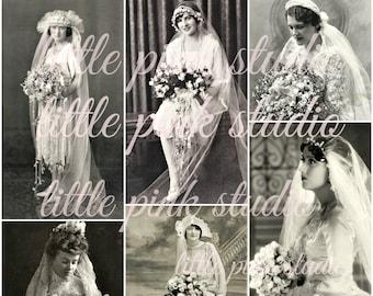 Here Comes the Vintage Bride,    Printable Collage Sheet (digital download, printable)