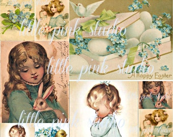 Happy Easter,  Printable Collage Sheet (digital download, printable)