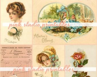 Beautiful Ladies,  Printable Valentine Collage Sheet (digital download, printable)