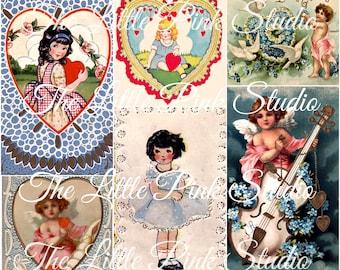 Hübsche Blue Valentine, druckbare Collage Sheet (digital Download, zum ausdrucken)