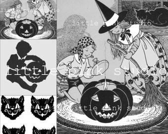 Ein Vintage-schwarz und weiß Halloween Collage Blatt (digitale Download)