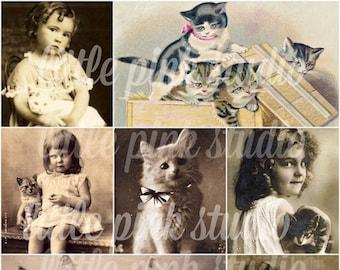 Mädchen und ihre Kätzchen, druckbare Collage Sheet (digital Download, zum ausdrucken)