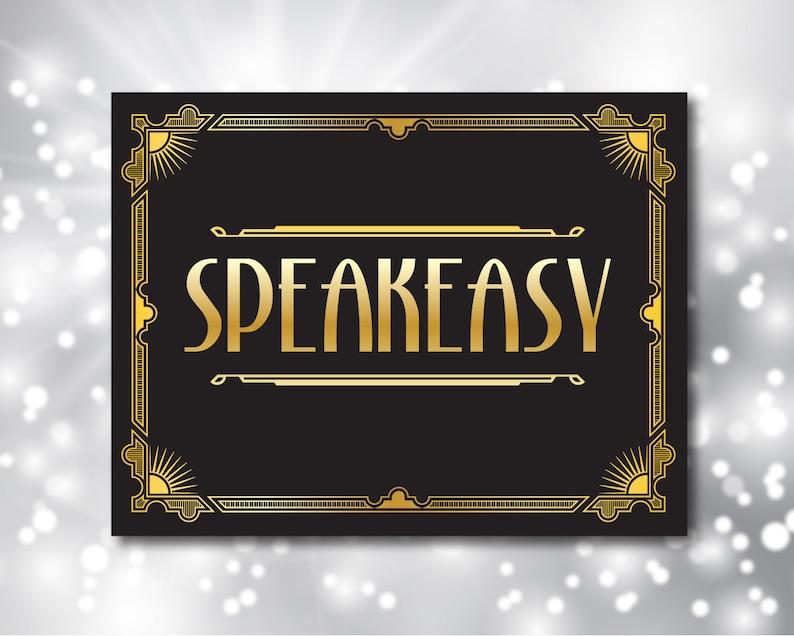 960f2fc7 Speakeasy Party Sign Gatsby Art Deco Printable Art Gatsby   Etsy