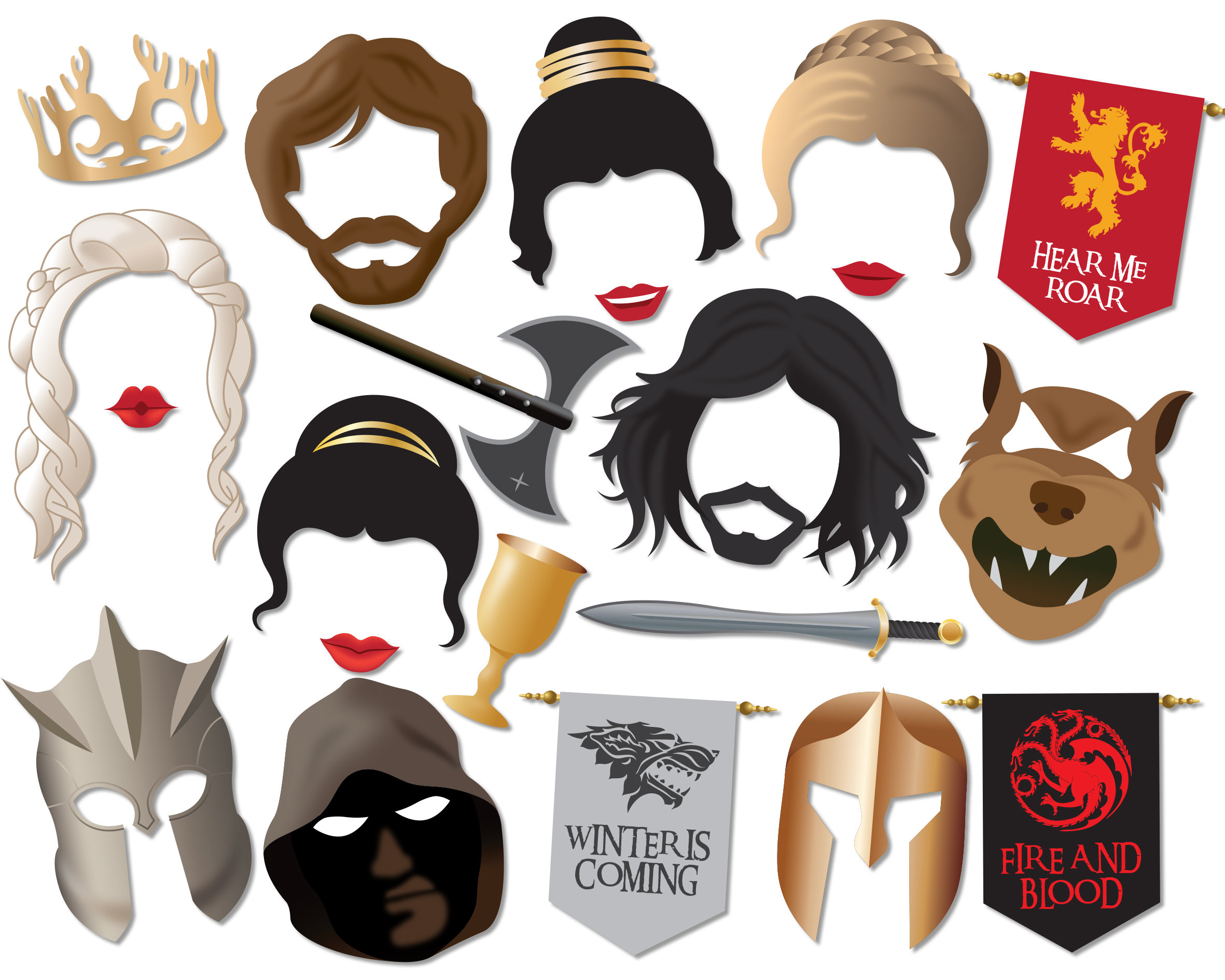 photo relating to Game of Thrones Stencil Printable identified as Activity of Thrones Photograph Booth Props, Fast Down load Printable Celebration Props - 0230